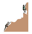 business woman and man trying to climb to the top vector image
