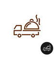 Food delivery logo Van car with hot platter and vector image