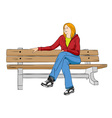 girl sitting in the park vector image