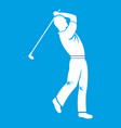 golf player icon white vector image