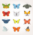 printset of colorful butterfly design vector image