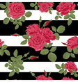 Seamless flower red roses pattern with horizontal vector image