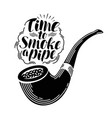 smoking pipe tobacco label handwritten lettering vector image