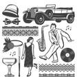 vintage retro party elements set vector image