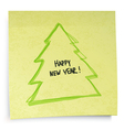 yellow sticky note new year concept vector image