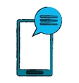 drawing blue smartphone communication bubble vector image