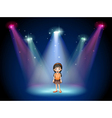 A smiling girl standing on the stage with vector image vector image