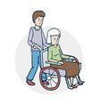 an elderly woman and a nurse vector image