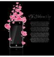 mobile phone with hearts vector image vector image