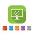 Computer with deny sign flat icon vector image