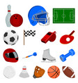 different kinds of sports cartoon icons in set vector image