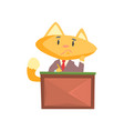 funny businessman fox in a suit sitting at the vector image