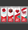 valentine polygon elements banner vector image