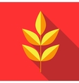 Yellow leaves on a branch icon flat style vector image