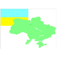 6214 ukrainian map and flag vector image