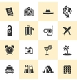 Set of black travel and tourism icons vector image
