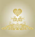 Sticker label with gold heart and ornaments vector image