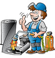 cartoon of a happy working roofer giving thumb up vector image