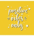 Positive vibes only Hand drawn typography poster vector image