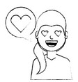 young woman with love heart in speech bubble vector image