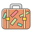 Brown travel suitcase with stickers icon vector image