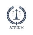 Legal company icon justice scales wreath vector image vector image