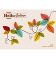 Hello autumn text Tree branch with leaves vector image vector image