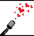 Microphone heart love valentines day vector image vector image