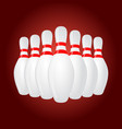 3d realistic skittles for bowling sport vector image