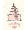 Vintage drawn wedding cake vector image