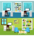 Office Interior Compositions Banners vector image