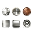 Detailed metal buttons set vector image