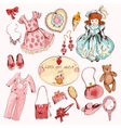 Little girl accessories colored items set vector image