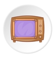 Retro TV icon cartoon style vector image