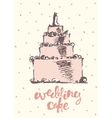 Vintage drawn wedding cake vector image