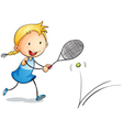 girl playing tennis vector image vector image