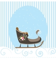 Christmas Card Blue Beautiful Old Sled Snowflake vector image