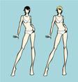 Fashion design female models template vector image