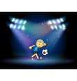 A young football player at the stage vector image