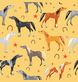 seamless pattern with colorful horses on yellow vector image