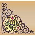 Gemstones golden filigree corner background vector image vector image