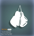 boxing gloves icon On the blue-green abstract vector image