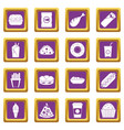 fast food icons set purple vector image