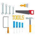 flat tools hammer screwdriver saw brush with vector image