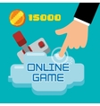 online game hand touch joystick coin score vector image