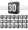 3D Apps Icon Technology Pictogram on Square Button