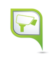 Map pointer with surveillance camera icon vector image