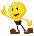 Cartoon light bulb pointing his finger vector image vector image
