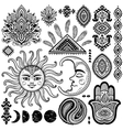 Sun moon and ornaments vintage set