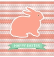 Easter card with pink rabbit on wool knited vector image